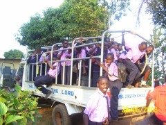 Students in the lorry